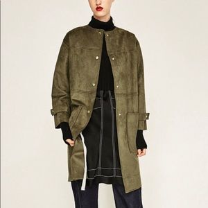 WG Zara Collection • army green suede coat